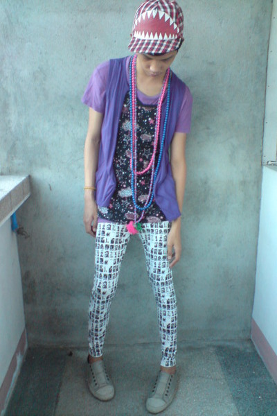 purple top - blue accessories - red F&H hat - white korean store leggings - silv