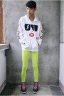 White-customized-jacket-chartreuse-people-are-people-leggings