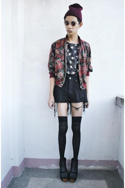 black r girls top - brick red scr jacket - black Soule Phenomenon wedges