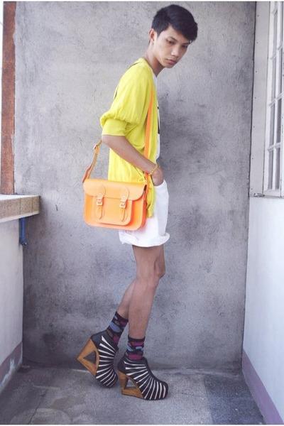 black Gold Dot boots - orange cambridge satchels bag - white thrifted shorts