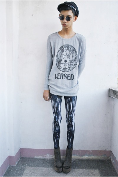 heather gray Spring sweater - blue Black Milk leggings