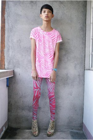 bronze asianvogue shop wedges - hot pink People are People leggings