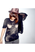 brown from australia hat - black from guangzhou necklace - black DIY t-shirt - g