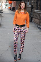 carrot orange cashmere sweater - floral cotton H&M pants