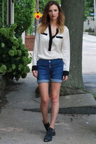 white pajama top banana republic shirt - blue denim shorts Gap shorts
