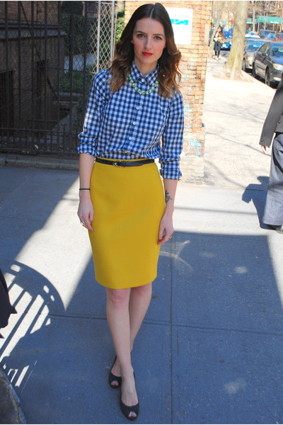 JCrew skirt - blue JCrew shirt - snakeskin vintage belt