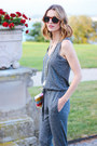 Heather-gray-jumpsuit-marshalls-romper-silver-snake-print-talbots-sandals