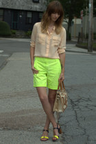 yellow neon JCrew shorts - ivory leather brahmin bag - neutral silk JCrew blouse
