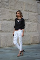 black leather Lulus sweater - white distressed Paige jeans