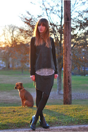 black leather luluscom sweater - black faux leather Marshalls skirt