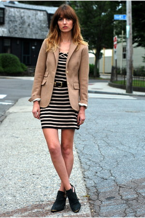 mustard wool JCrew blazer - dark gray Aldo boots - black striped Wallis dress