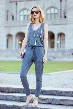 heather gray jumpsuit Marshalls romper - silver snake print talbots sandals