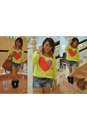 chartreuse longsleeve top Forever 21 blouse - tawny H&M bag - blue Zara shorts