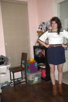 neiman marcus top - American Apparel skirt - Joan and David boots