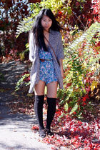 gray f21 cardigan - black Salvatore Ferragamo shoes - blue romper UO shorts