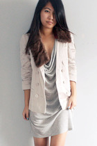 beige Topshop blazer - gray t by alexander wang dress - brown vintage accessorie