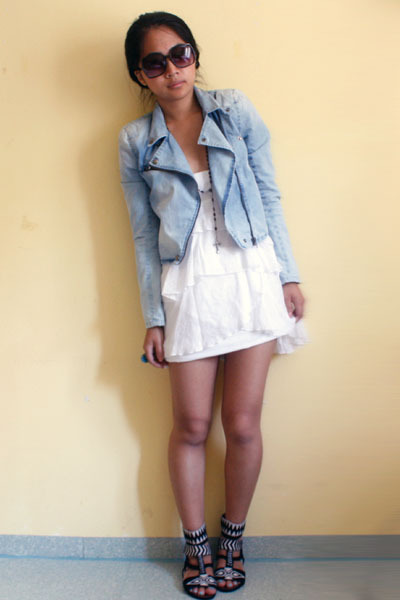 blue H&M jacket - white Zara dress - black H&M shoes