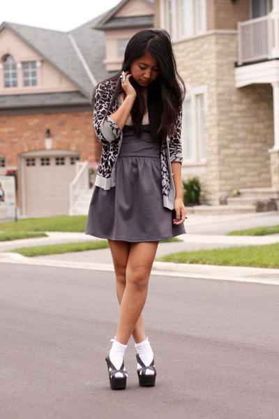 gray UO dress - gray H&M cardigan - black Jeffrey Campbell shoes