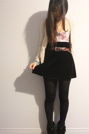 black velvet BCBG skirt - black Minnetonka shoes - beige H&M sweater