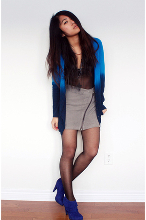 blue f21 cardigan - black aa intimate - blue Steve Madden boots - gray Topshop s
