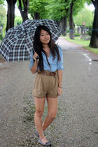 blue Primark shirt - brown Zara shorts