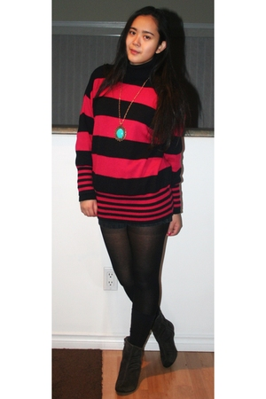 pink sweater - blue Aldo accessories - black H&M tights - black American Apparel