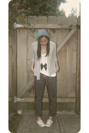 blue H&M hat - gray Reitmans cardigan - white American Apparel top - green Vero