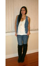 white American Apparel top - blue Zara vest - black thrifted boots - gold Aldo a