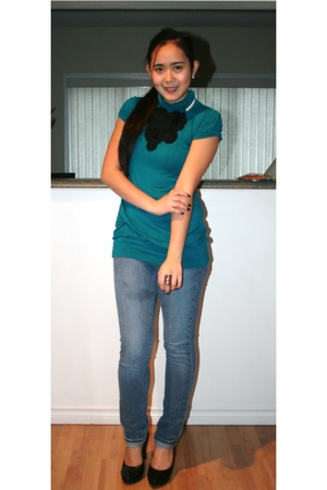 blue top - black Aldo accessories - blue Old Navy jeans - black roberto vianni s