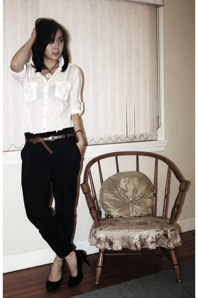 white sheer Zara blouse - black pumps roberto vianni shoes