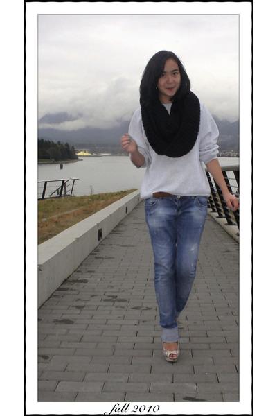black American Apparel scarf - blue Zara jeans - brown Pierre Cardin belt - whit