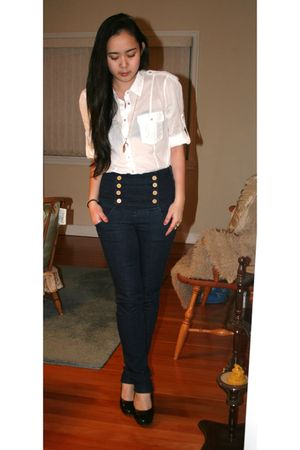 white Zara blouse - blue Zara jeans - black roberto vianni shoes - gold skyler a