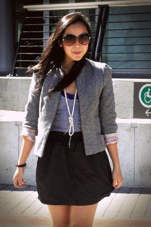 gray Zara blazer - black American Apparel skirt - purple Aldo shoes - gray Ameri