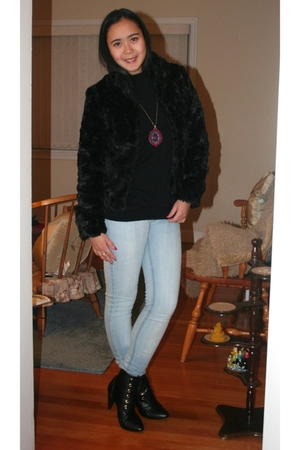black le chateau top - black H&M jacket - pink H&M accessories - black H&M boots