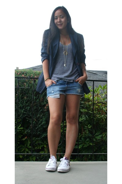 American Apparel top - American Eagle shorts - INC blazer - adidas shoes
