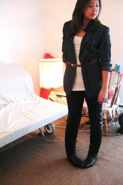 The black shop blazer - Aldo Accessories belt - Zara top - Sirens jeans - thrift
