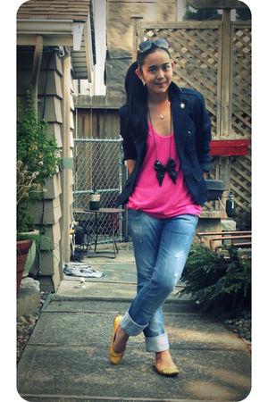 blue Jacob blazer - pink Nordstrom t-shirt - blue Zara jeans - black Zara access