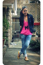 blue Jacob blazer - pink Nordstrom t-shirt - blue Zara jeans - black Zara access