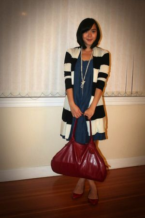 blue Zara dress - red Aldo shoes - white Tommy Hilfiger cardigan
