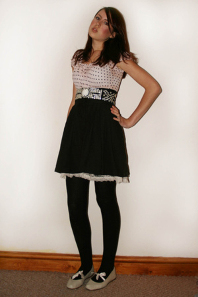 warehouse top - vintage belt - H&M skirt - Topshop shoes