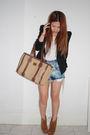 Black-blazer-blue-vintage-diy-shorts-white-bonds-shirt-brown-wittner-shoes
