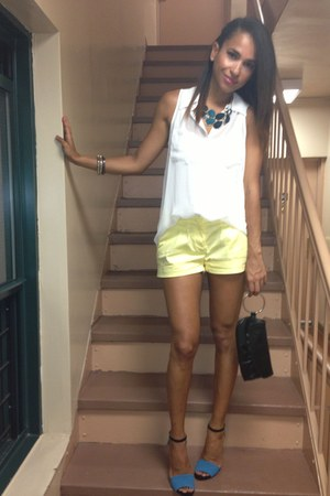 light yellow H&M shorts - sky blue lulus sandals