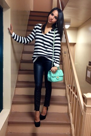 black H&M sweater - aquamarine GoJane bag - black Forever 21 pants