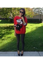 red red Forever 21 sweater - black wayfarer ray-ban sunglasses