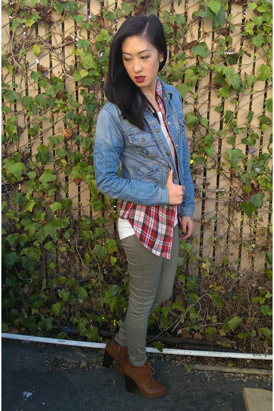 denim jacket Lucky Brand jacket - booties Shoedazzle boots