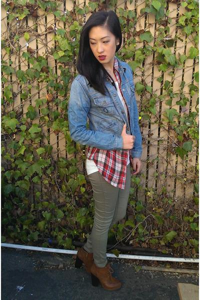 denim jacket Lucky Brand jacket - booties Shoedazzle boots