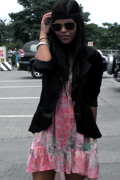pink Topshop dress - black Plains & Prints blazer - black mphosis accessories -