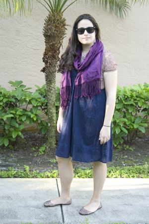 beige Steve Madden shoes - purple Jones of New York scarf - blue Old Navy dress