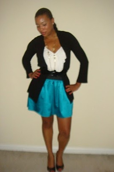 white top - black cardigan - blue skirt - black shoes
