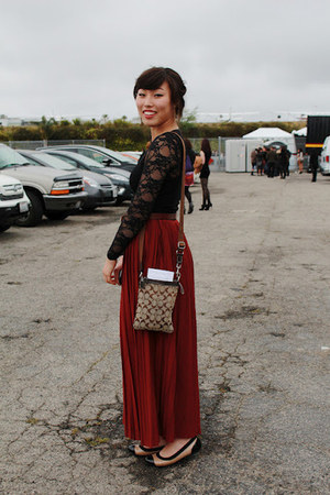 black lace American Apparel dress - tan coach purse - maroon ForeverXXI skirt